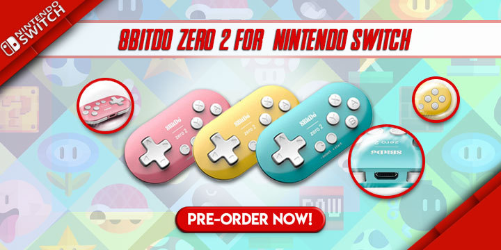 8BitDo Zero 2 for Nintendo Switch, 8BitDo Zero 2, 8BitDo, Bluetooth Gamepad, Pink, Yellow, Turquoise, Pre-order, Accessories