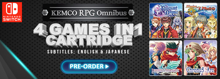 Kemco RPG Omnibus, kemco rpg collection, switch, nintendo switch, Asia, release date, gameplay, features, price, pre-order now, multi-language, english subtitle, japanese subtitle, kemco, Revenant Dogma, Illusion of L'Phalcia, Chronus Arc, Legend of the Tetrarchs