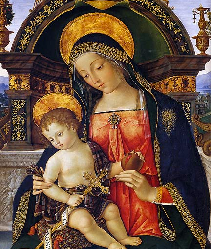 The Virgin Mary painting in Lapis