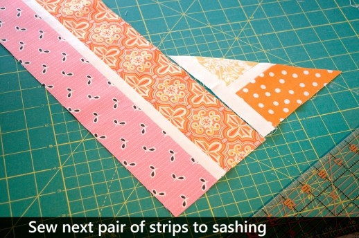 Sew the next pair of strips to the sashing