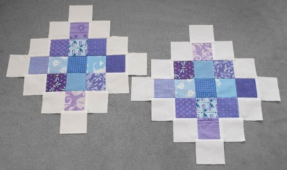 Snow and white granny blocks