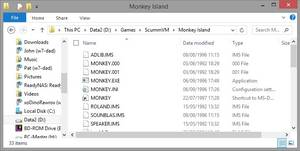 "Here the user has copied the files needed for the game ""Secret of Monkey Island"" to his hard drive."