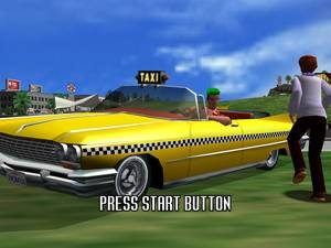 Crazy cabby Axel picks up a crazy customer in Crazy Taxi.