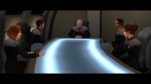 Captain Picard is dazzled by his table.