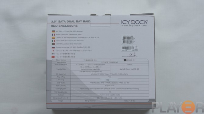 Icy Dock MB662U3-2S Box Back
