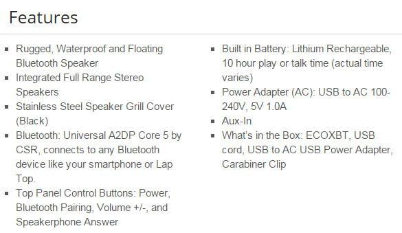 ECOXBT Features