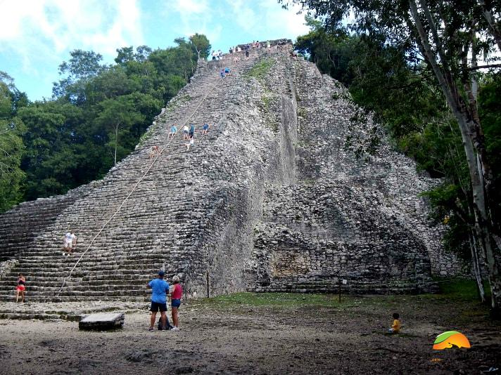 Nohoch Mul in Coba, the tallest pyramid in the Yucatan Peninsula