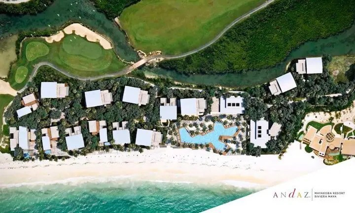 andaz Mayakoba golf & ocean from sky