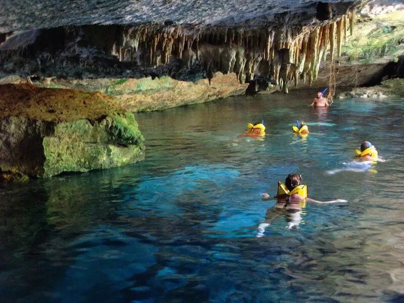 swimming in Chikin Ha cenote