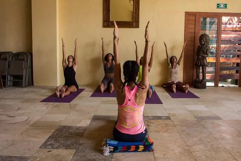 Yoga at inti beach club in Playa del Carmen