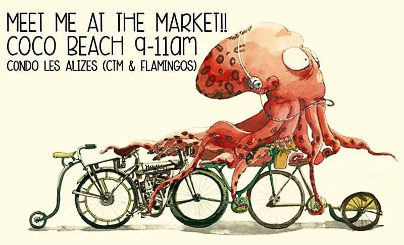 Coco Beach eco market poster with pink squid