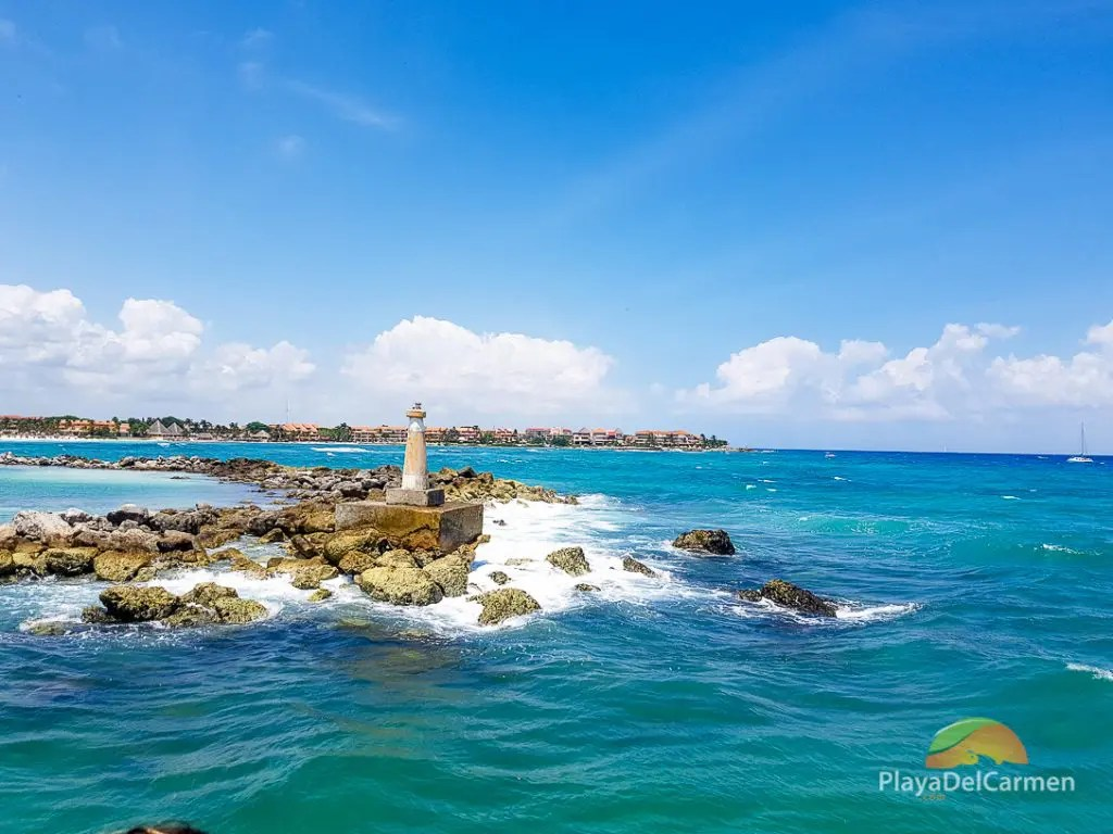 A mini-light house to protect navigators from crashing into the rocks at Puerto Aventuras, Mexico