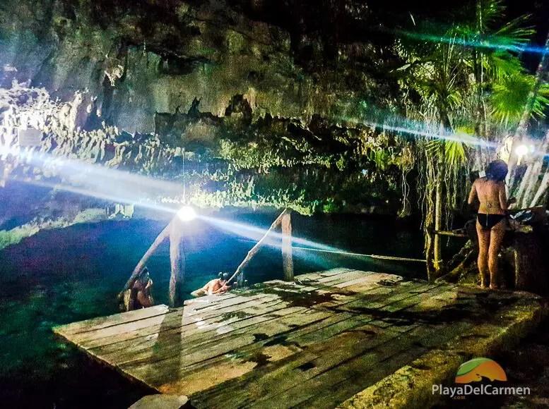 People swimming in Dos Palmas Cenote Tulum