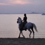 Chica con caballo en el Mar Menor