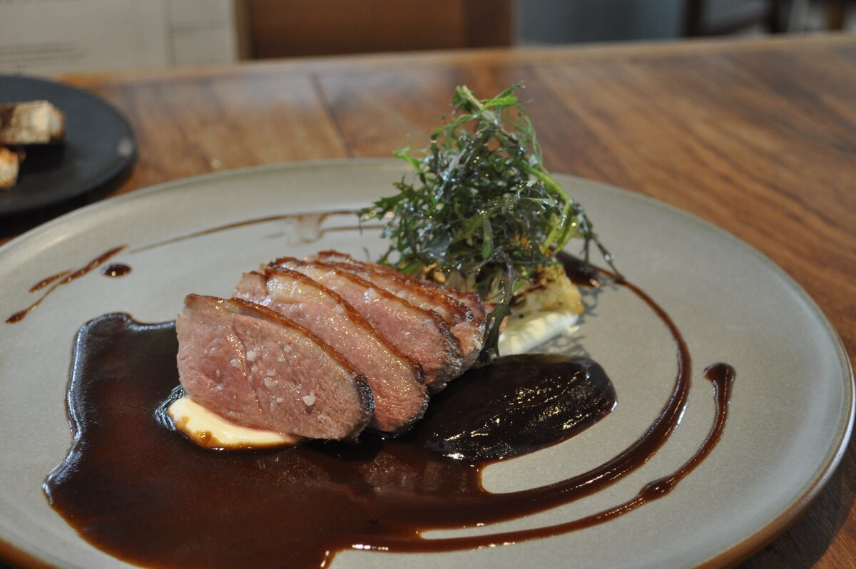 Duck breast with cherry at Allium