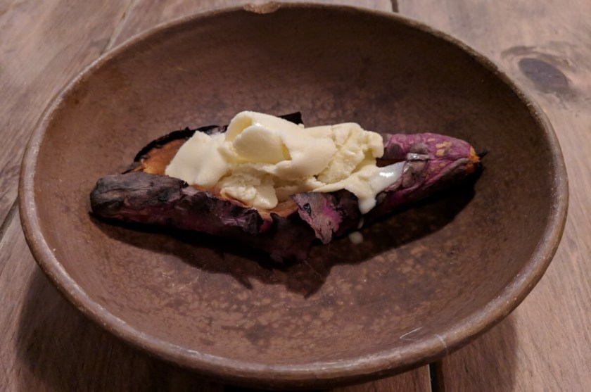 Grilled sweet potato with ice cream at Xokol