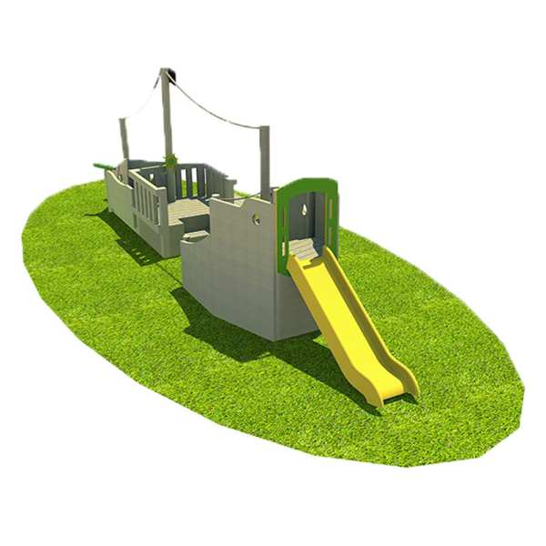 Barge, Playcubed, Valley Provincial, Primary school playground, playground installation, playground construction, bespoke playground design, themed play area, playground equipment, playground activity frame, playground slide
