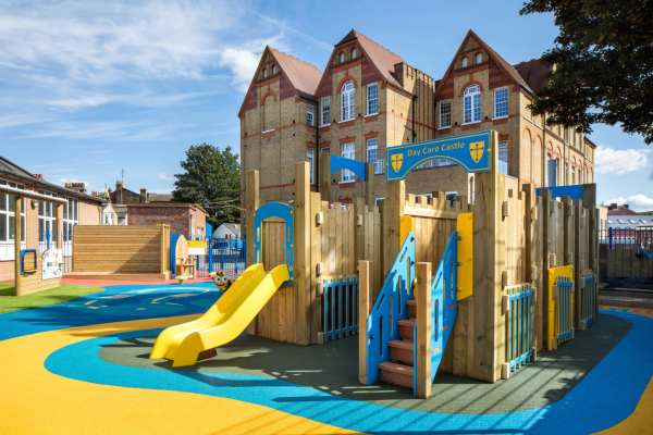 castle, Playcubed, Valley Provincial, Primary school playground, playground installation, playground surfacing, bespoke playground design, themed play area, playground equipment, playground activity frames, interactive panels