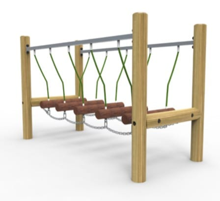 wobble walkway, school trim trail, playground equipment, Playcubed, Valley Provincial, Primary school playground, recreation area, playground construction, playground installation, bespoke playground design