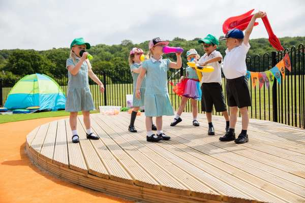 imaginative play in schools, School role play, Playcubed, Outdoor Play, Primary school playground, playground installation, playground construction, bespoke playground design, playground landscaping, inclusive play