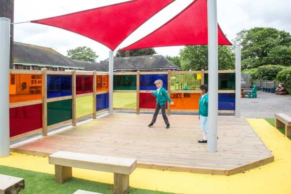 school role play stage, Playcubed, Valley Provincial, Primary school playground, playground installation, playground construction, bespoke playground design, playground landscaping, inclusive play, playground equipment, sensory panels