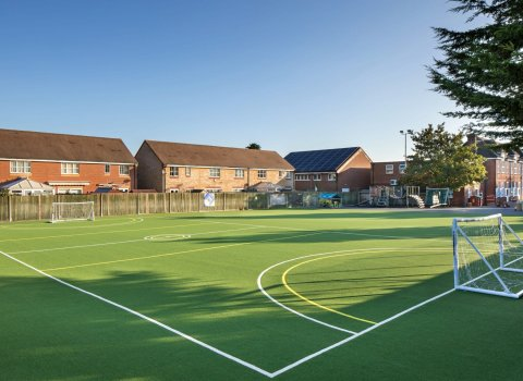 Multi Use Games Area, mugas, playcubed, Valley Provincial, Primary school MUGA, south east MUGA installation, south east MUGA design, playcubed project, playground synthetic surfacing, playground sports markings, playground landscaping, ballcourts south east