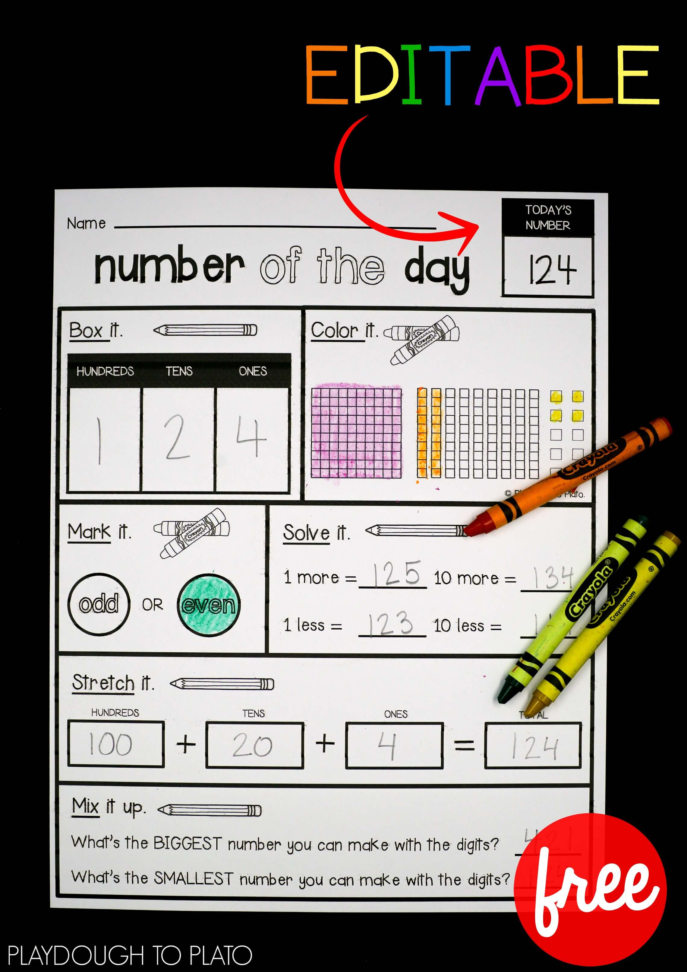 Editable Number Of The Day Sheet