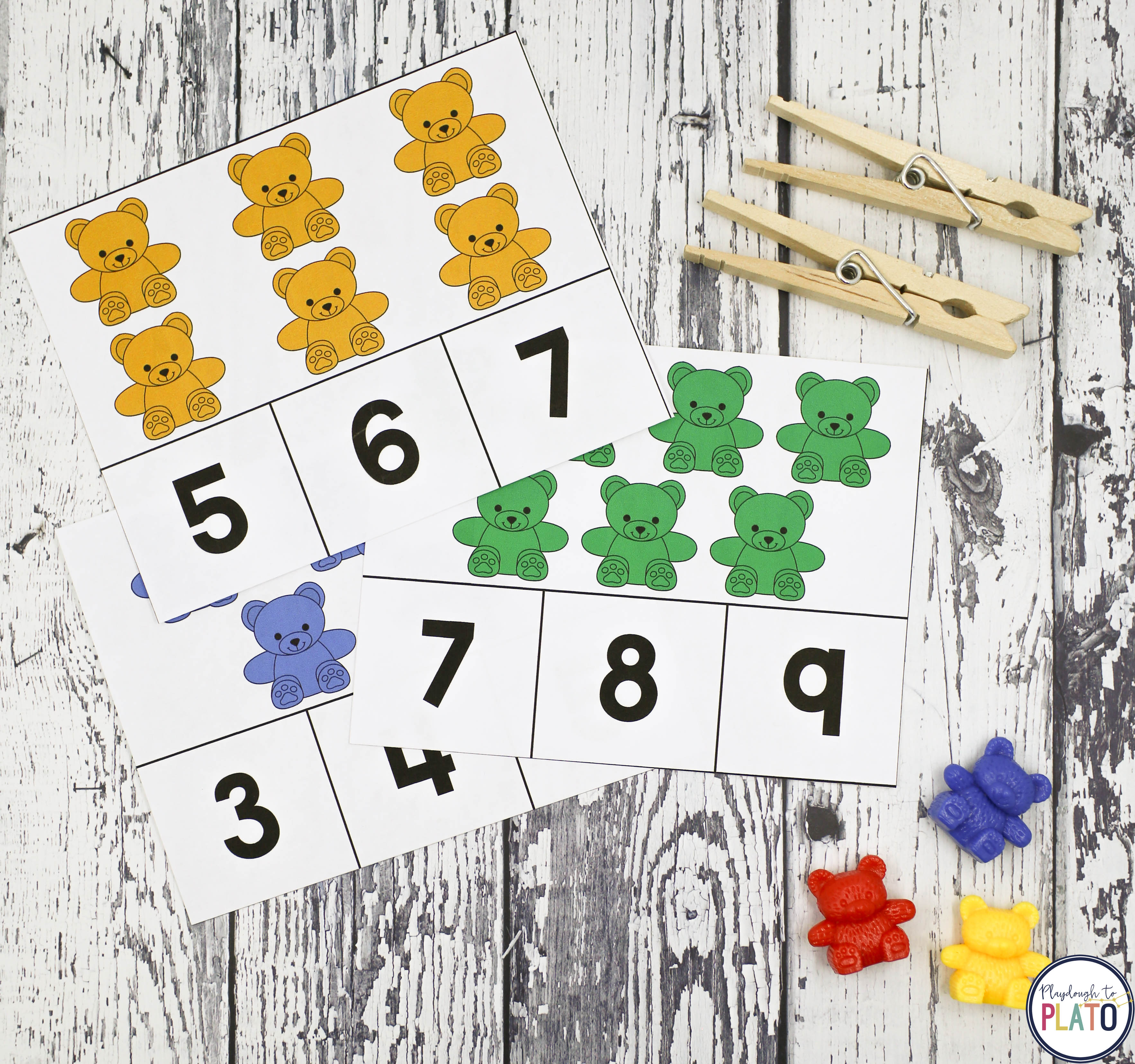 Counting Bear Clip Cards