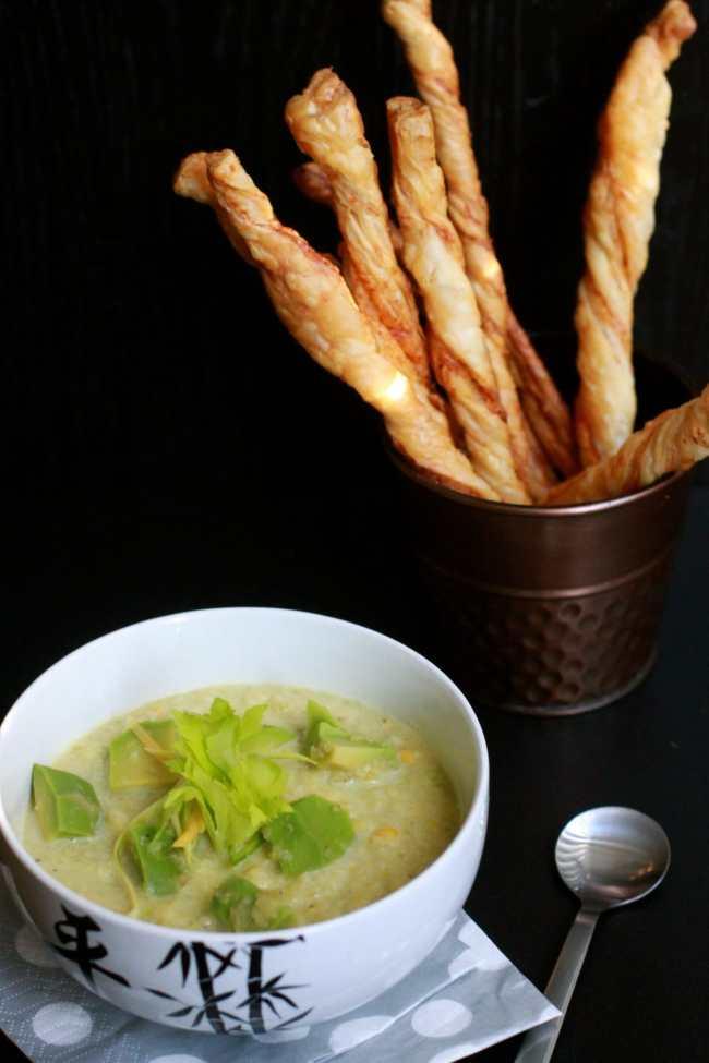 Zucchini & Avocado Cold Soup with Crispy Sticks 1