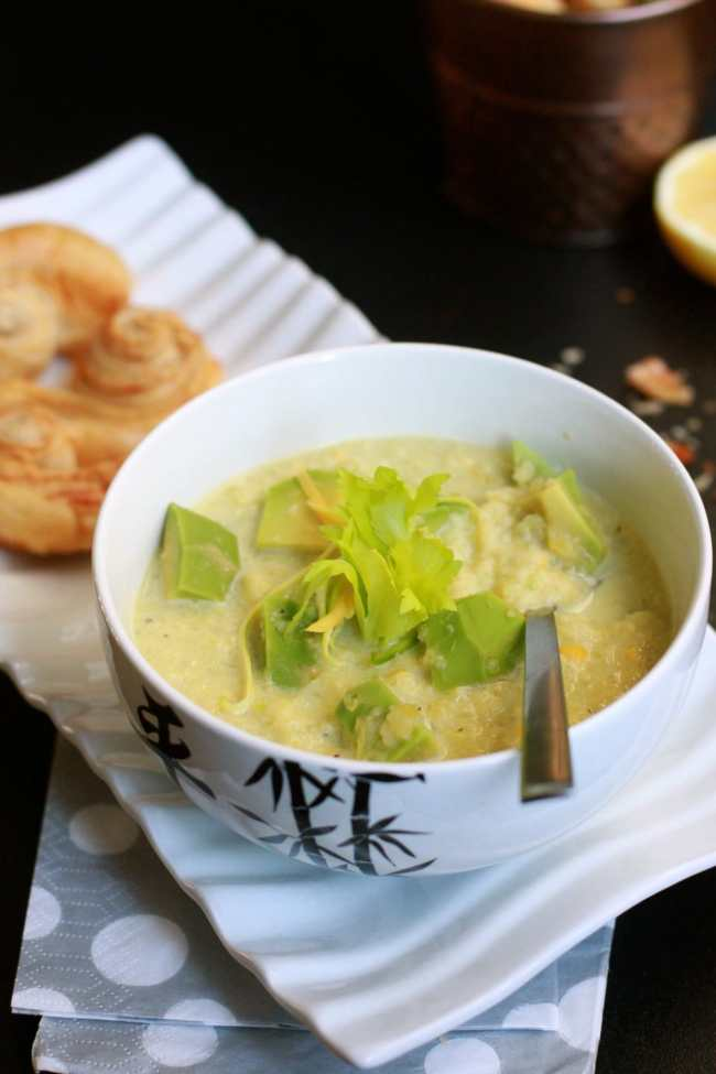 Zucchini & Avocado Cold Soup with Crispy Sticks 2