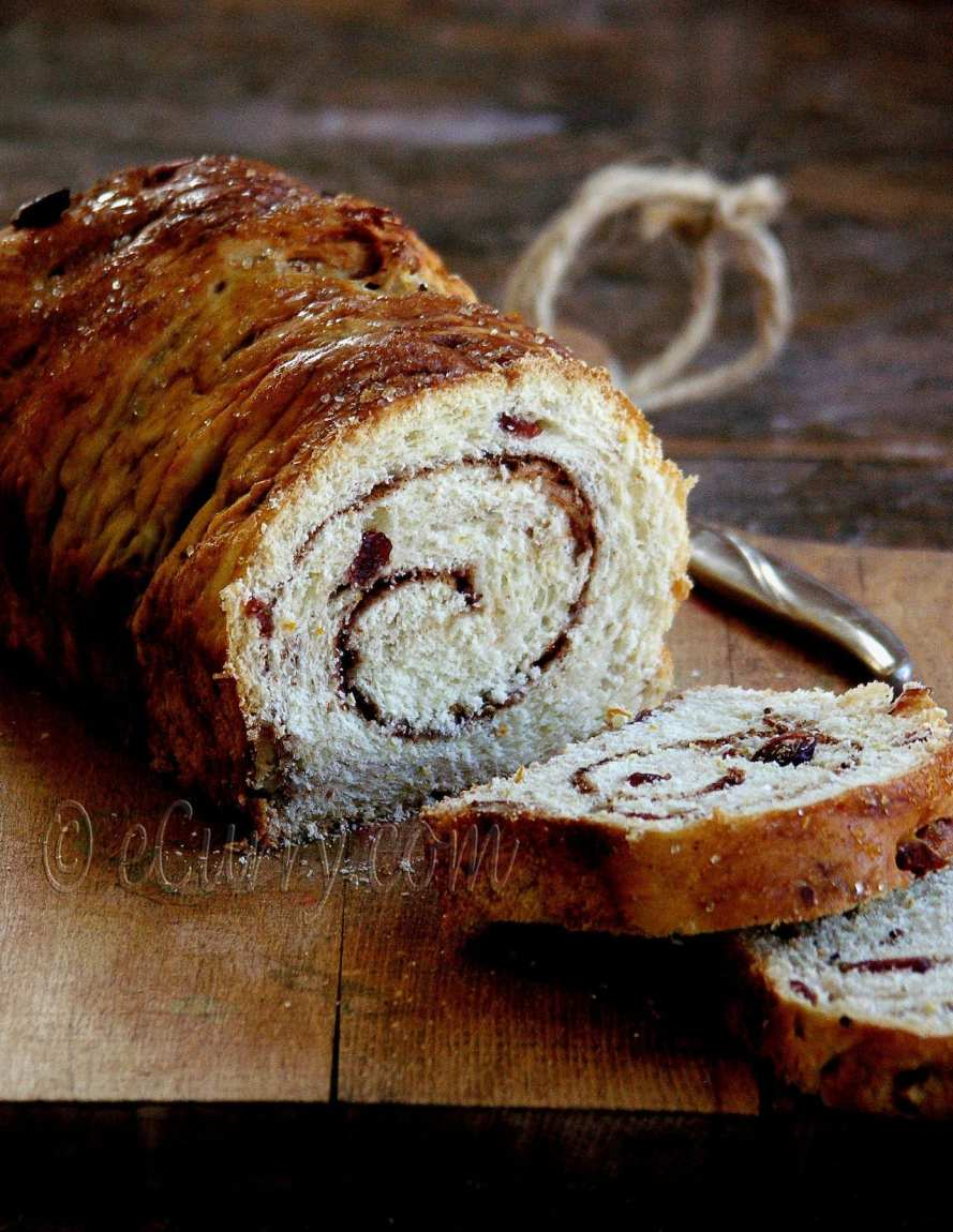 Spiced Cranberry and Nut Swirl Bread - Guest Post by Soma @ eCurry 2