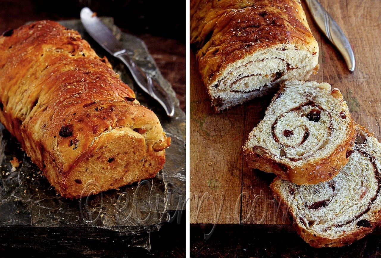 Spiced Cranberry and Nut Swirl Bread - Guest Post by Soma @ eCurry 4