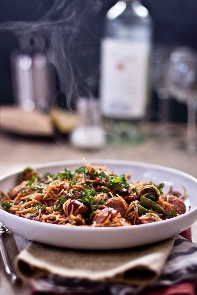 Brown Buttered Vermicelli with Sausage and Spinach 3