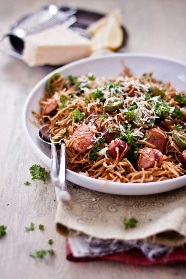 Brown Buttered Vermicelli with Sausage and Spinach 4