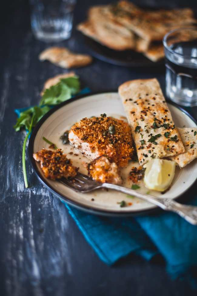 Panko Crust Salmon in Piccata Sauce | Playful Cooking