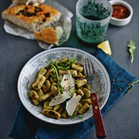 Arugula Gnocchi with Spicy Brown Butter Sauce | Playful Cooking
