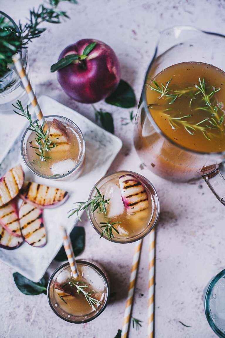 Grilled Nectarine Rosemary Iced Tea | Playful Cooking #summer #drinks #foodphotography #iced #tea #nectarine #rosemary