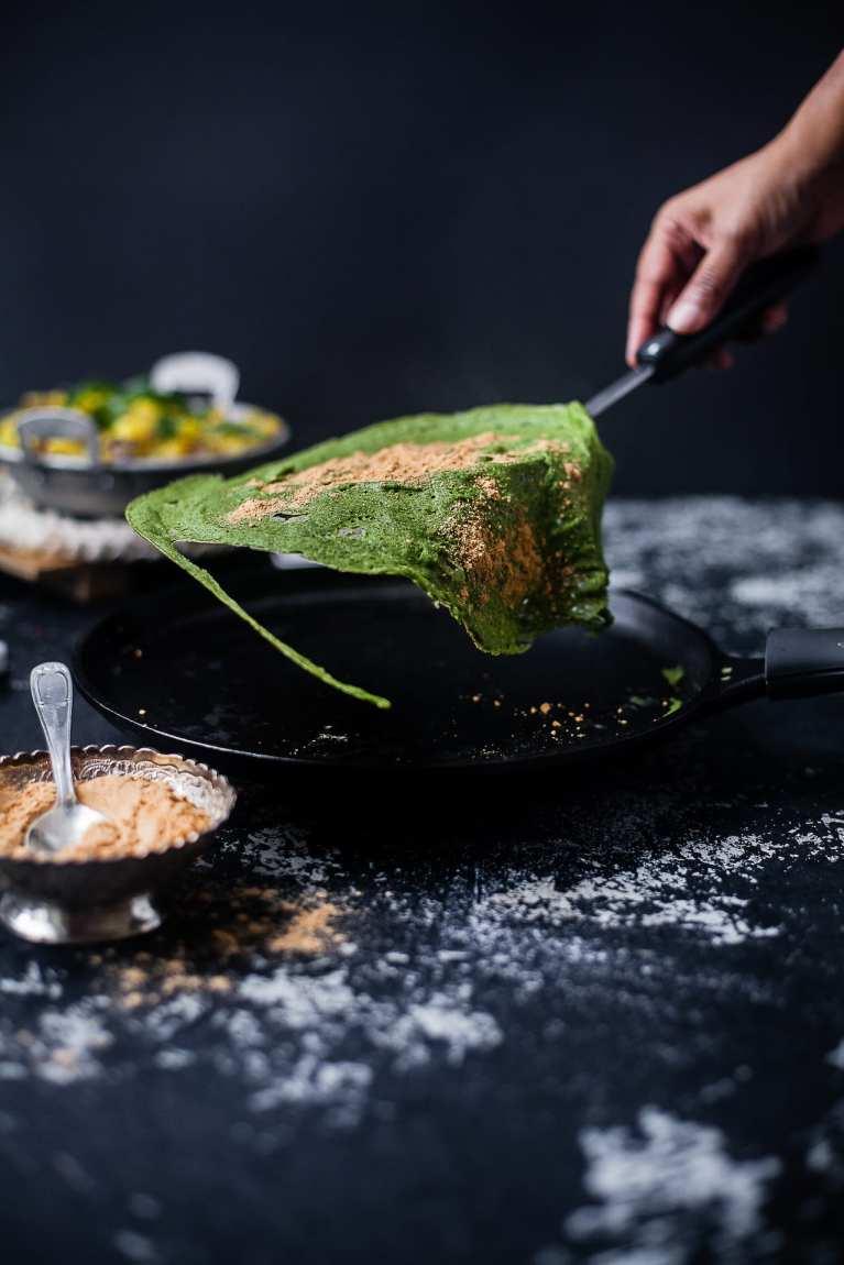 Palak Pesarattu | Spinach Mung Bean Crepe | Playful Cooking #crepe #mungbean #glutenfree #vegan #vegetarian #spinach #foodphotography #pesarattu