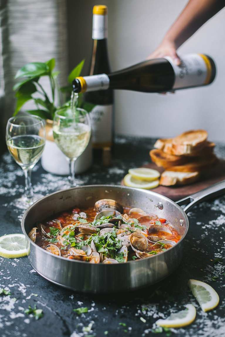 Pour a glass of wine | Playful Cooking #foodphotography #wine #foodphotography #seafood #clams