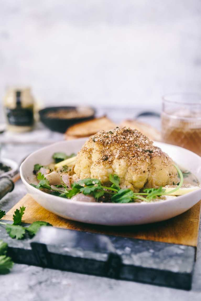 Whole Roasted Cauliflower in Mustard Sauce | Playful Cooking #cauliflower #roasted #mustardsauce #foodphotography