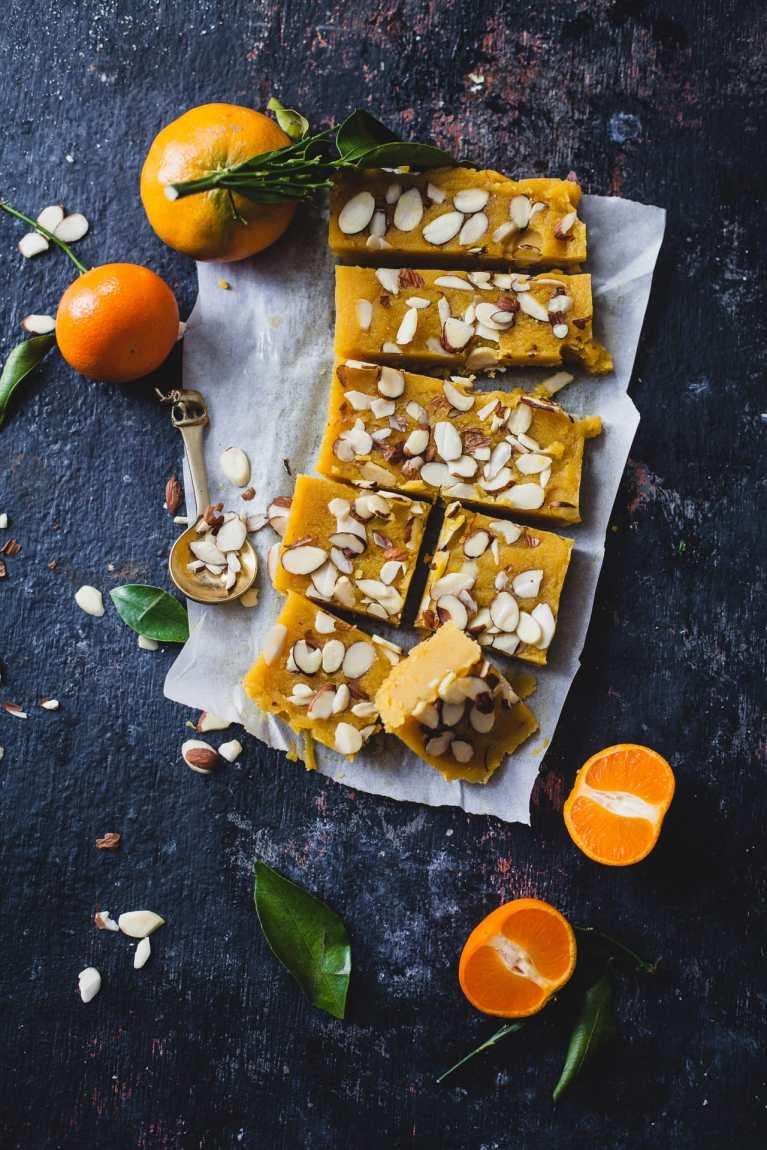 Santra Badam Barfi (Orange Almond Fudge) 1