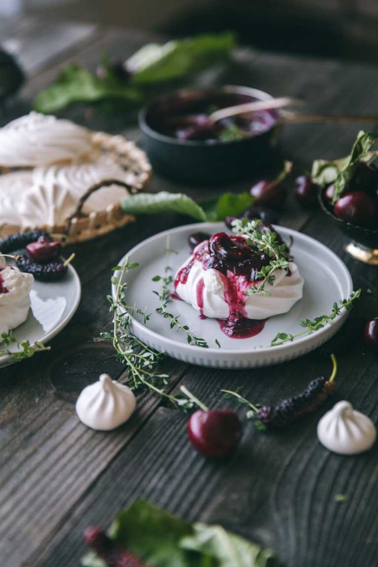 Mini Pavlovas with Fruit and Thyme Compote 2