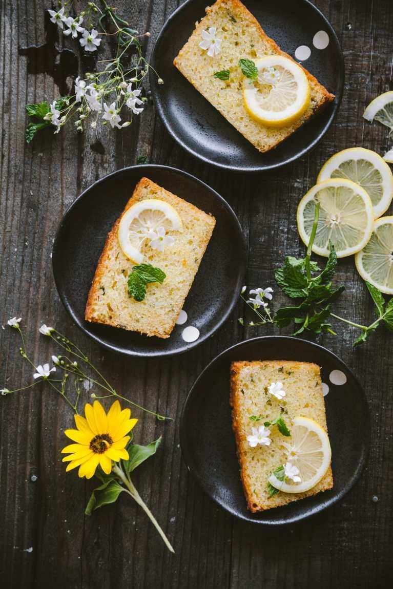 Three plates of Lemon Mint Cake slices