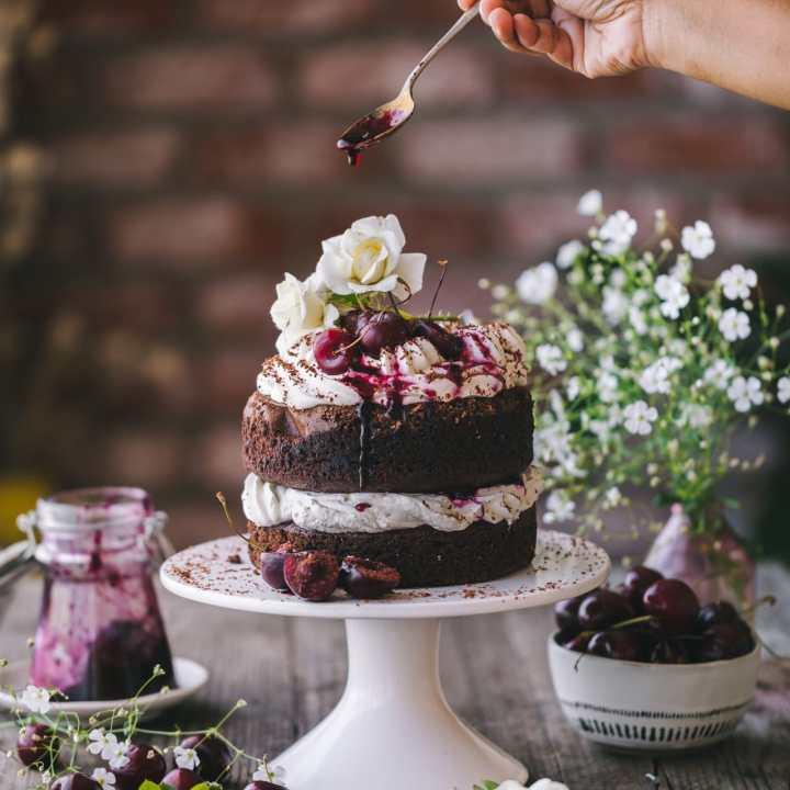 Food Photography of Chocolate Cherry Cake!