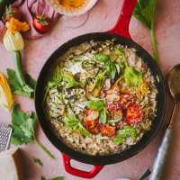 Summer Risotto with Tomato Confit and Zucchini