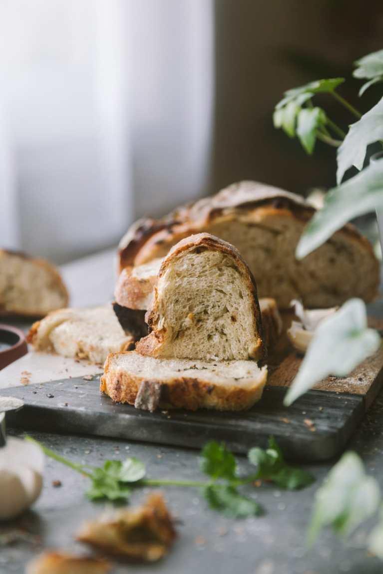 Roasted Garlic and Cilantro Bread