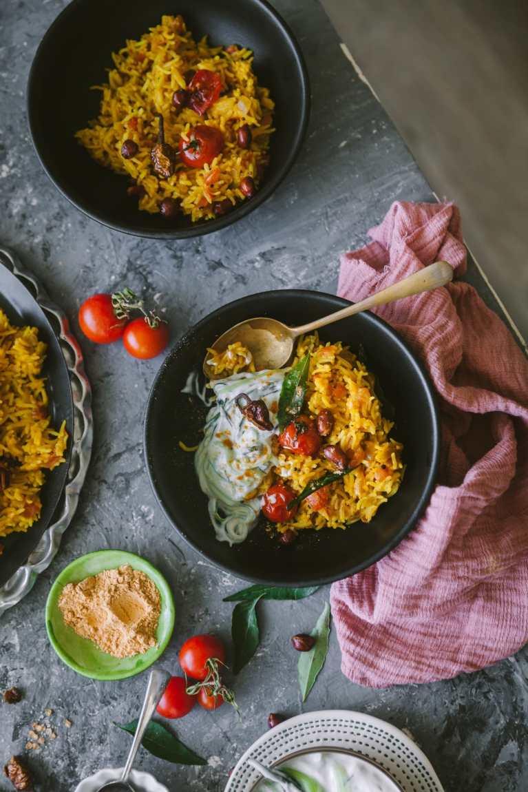 Tomato Rice - flat lay scene