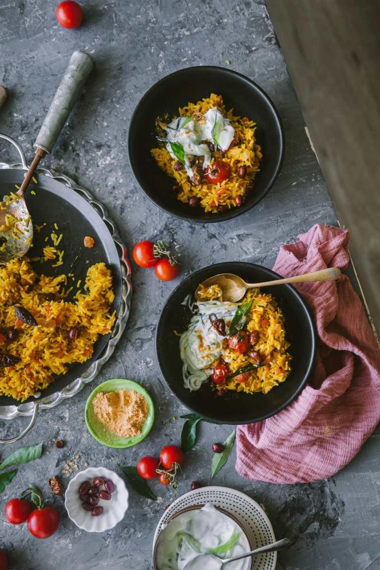 Tomato Rice - flat lay scene | Food Photography