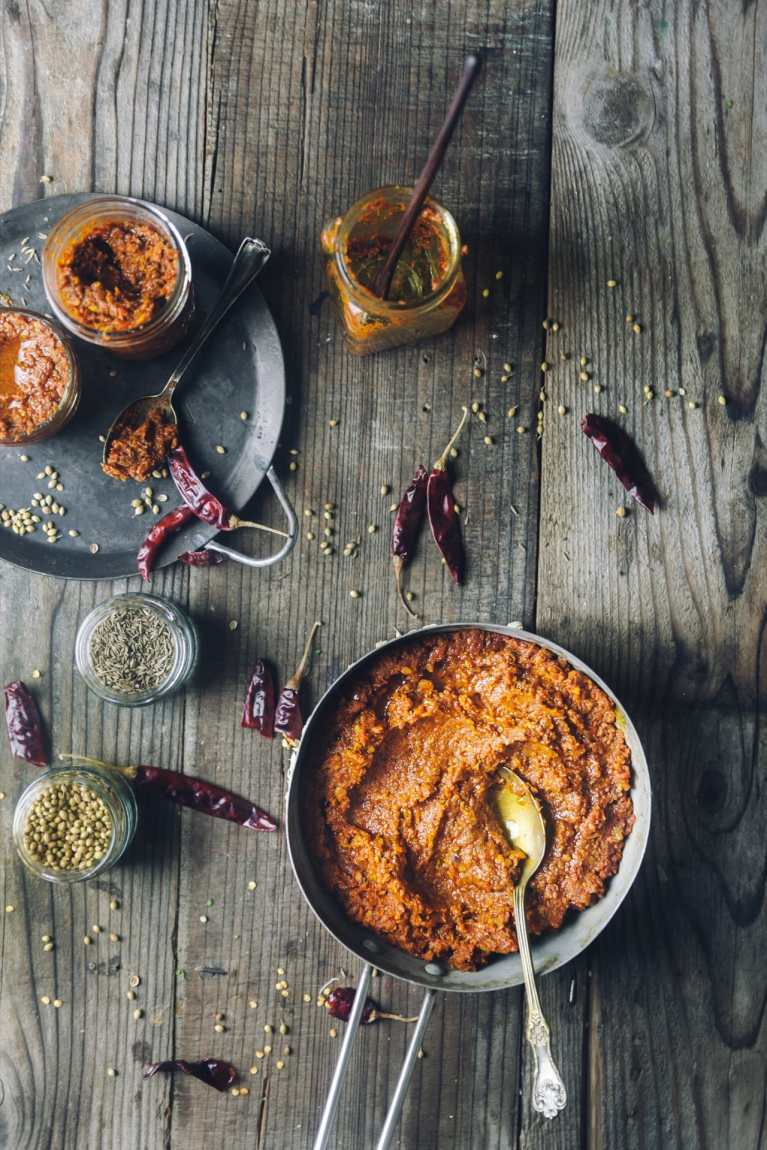 Indian Curry Paste to make cooking easy! Flat lay view