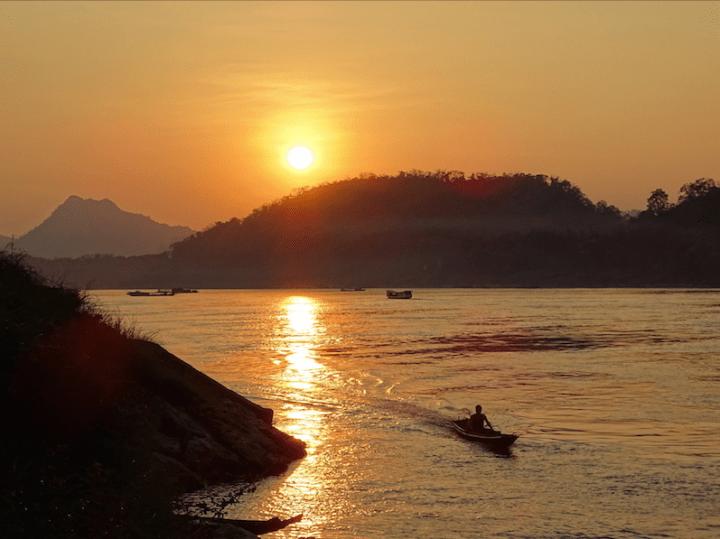 Coucher de soleil sur le Mékong, Luang Prabang